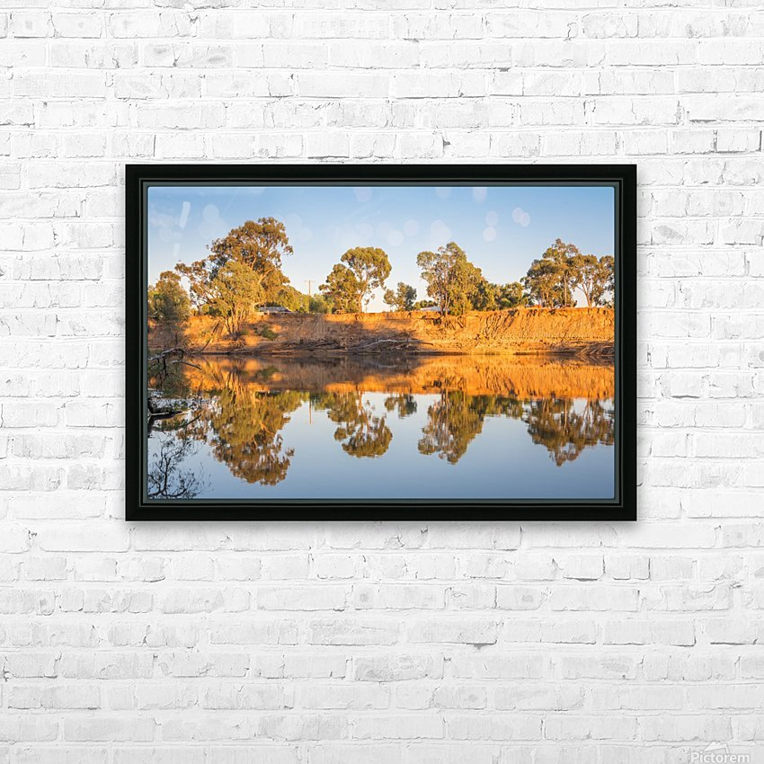 Tranquil river bank reflections at sunrise HD Sublimation Metal print with Decorating Float Frame (BOX)