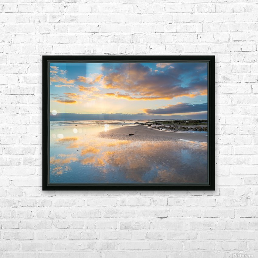 Beach sunrise reflected on the wet sand HD Sublimation Metal print with Decorating Float Frame (BOX)