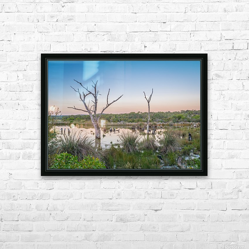 Wetlands at sunset with smoke haze. HD Sublimation Metal print with Decorating Float Frame (BOX)
