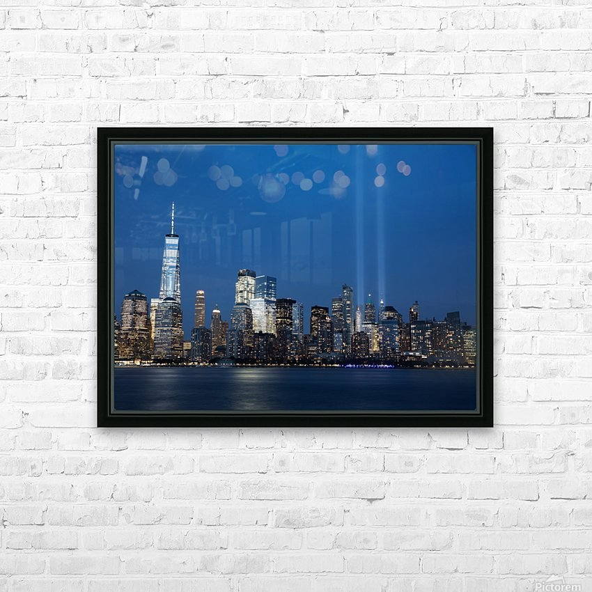 911 Memorial Lights NYC skyline HD Sublimation Metal print with Decorating Float Frame (BOX)