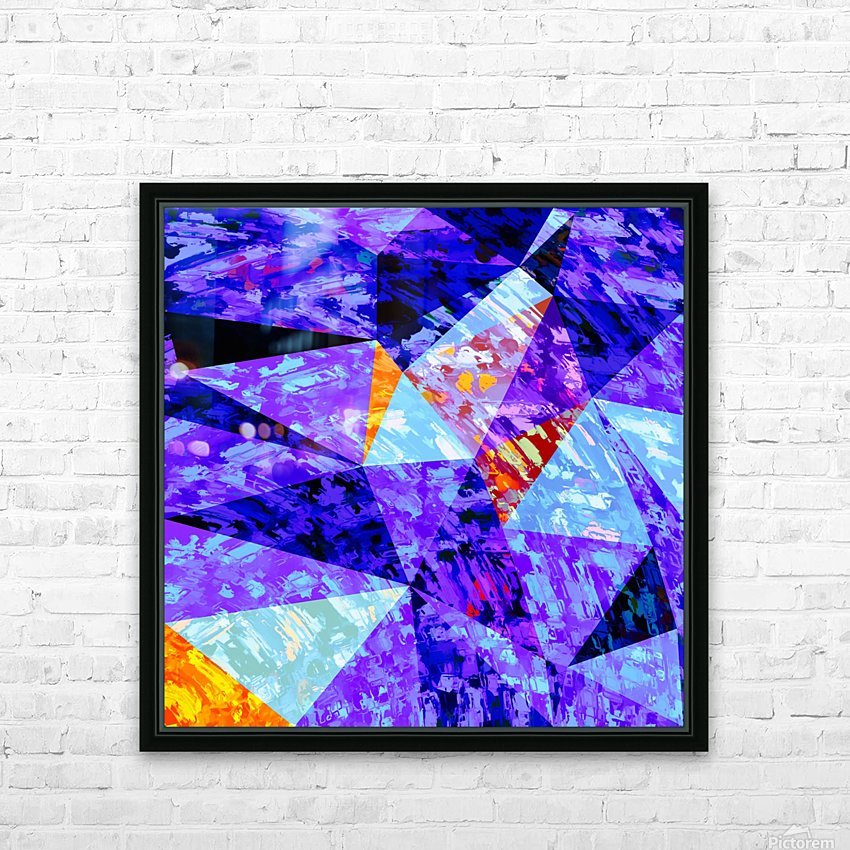 vintage psychedelic geometric triangle polygon pattern abstract in purple blue orange HD Sublimation Metal print with Decorating Float Frame (BOX)