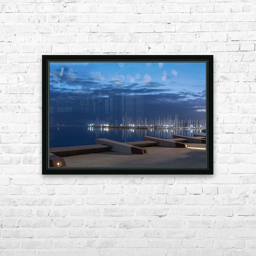 Blue Pre Dawn Marina HD Sublimation Metal print with Decorating Float Frame (BOX)