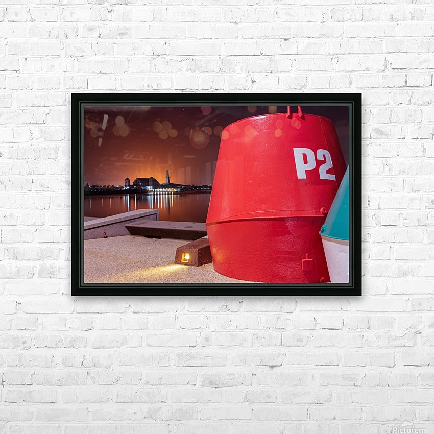 Orange lights with Geelong Pier and Buoys HD Sublimation Metal print with Decorating Float Frame (BOX)