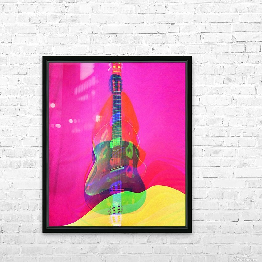Guitar on Pink  HD Sublimation Metal print with Decorating Float Frame (BOX)