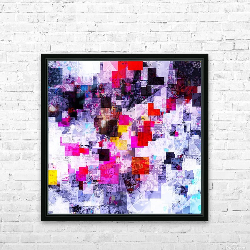 vintage psychedelic geometric square pixel pattern abstract in pink red blue purple HD Sublimation Metal print with Decorating Float Frame (BOX)