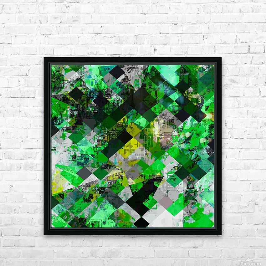 vintage psychedelic geometric square pixel pattern abstract in green and yellow HD Sublimation Metal print with Decorating Float Frame (BOX)
