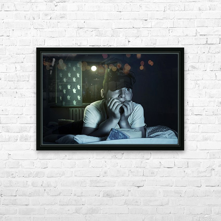 scared and sleepless boy chewing fingernails HD Sublimation Metal print with Decorating Float Frame (BOX)