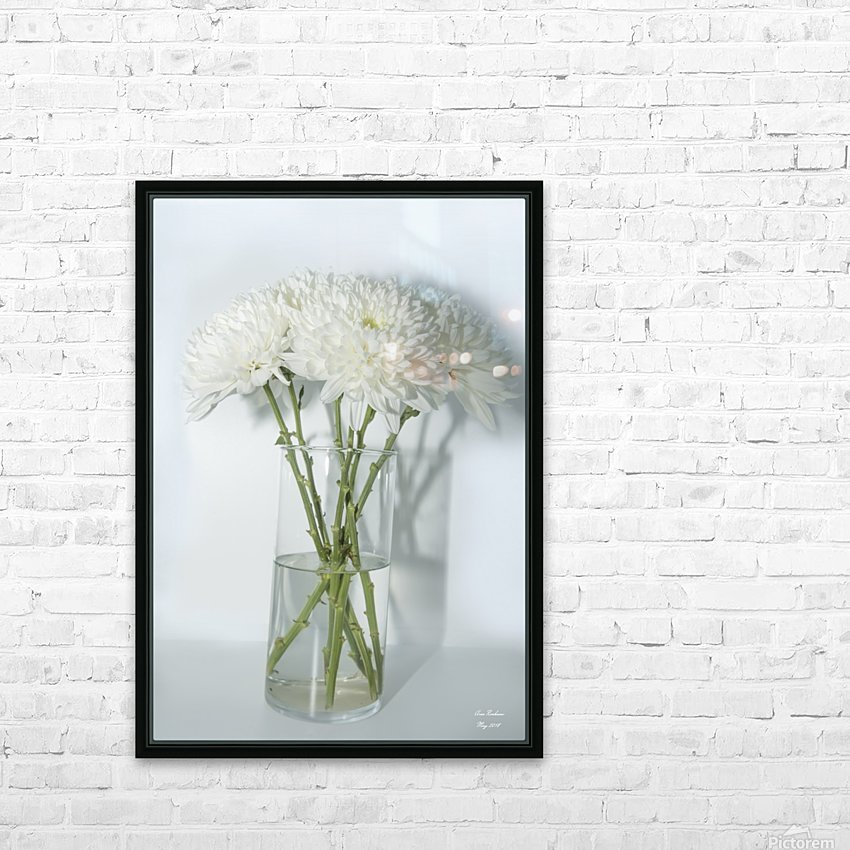 Mum Flower in a Vase HD Sublimation Metal print with Decorating Float Frame (BOX)