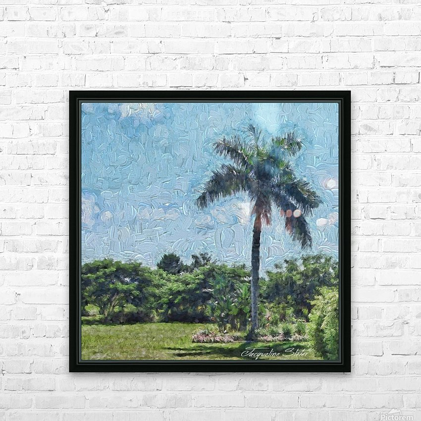A Monet style Palm HD Sublimation Metal print with Decorating Float Frame (BOX)