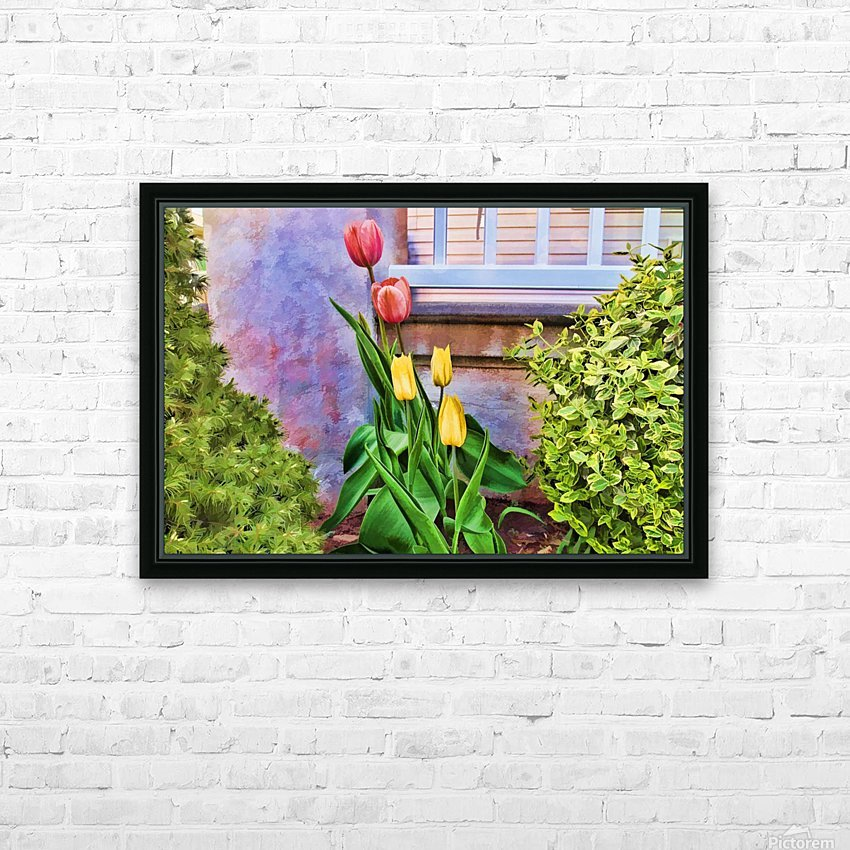 Painted Tulips HD Sublimation Metal print with Decorating Float Frame (BOX)
