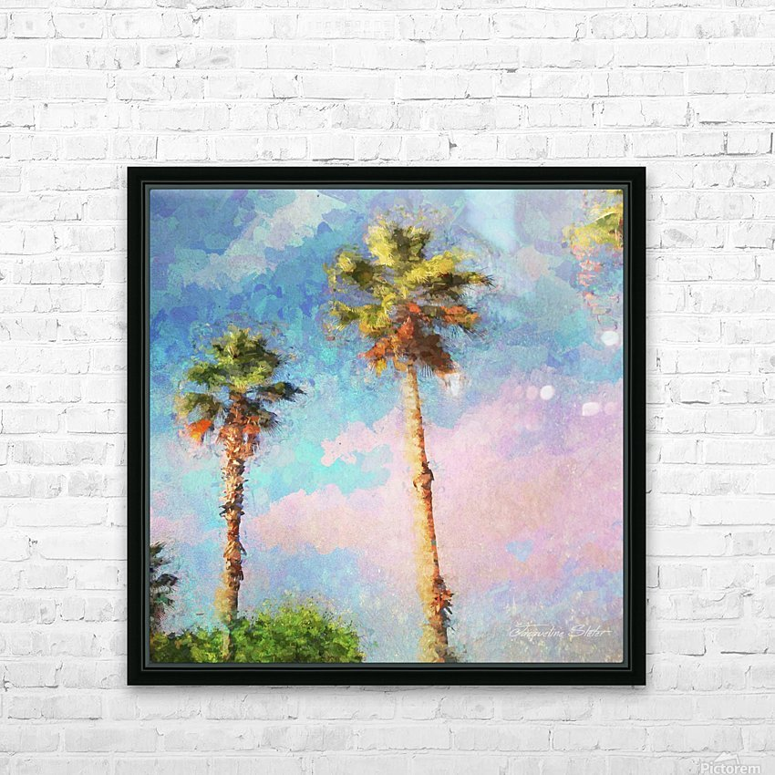 Painted Palms HD Sublimation Metal print with Decorating Float Frame (BOX)