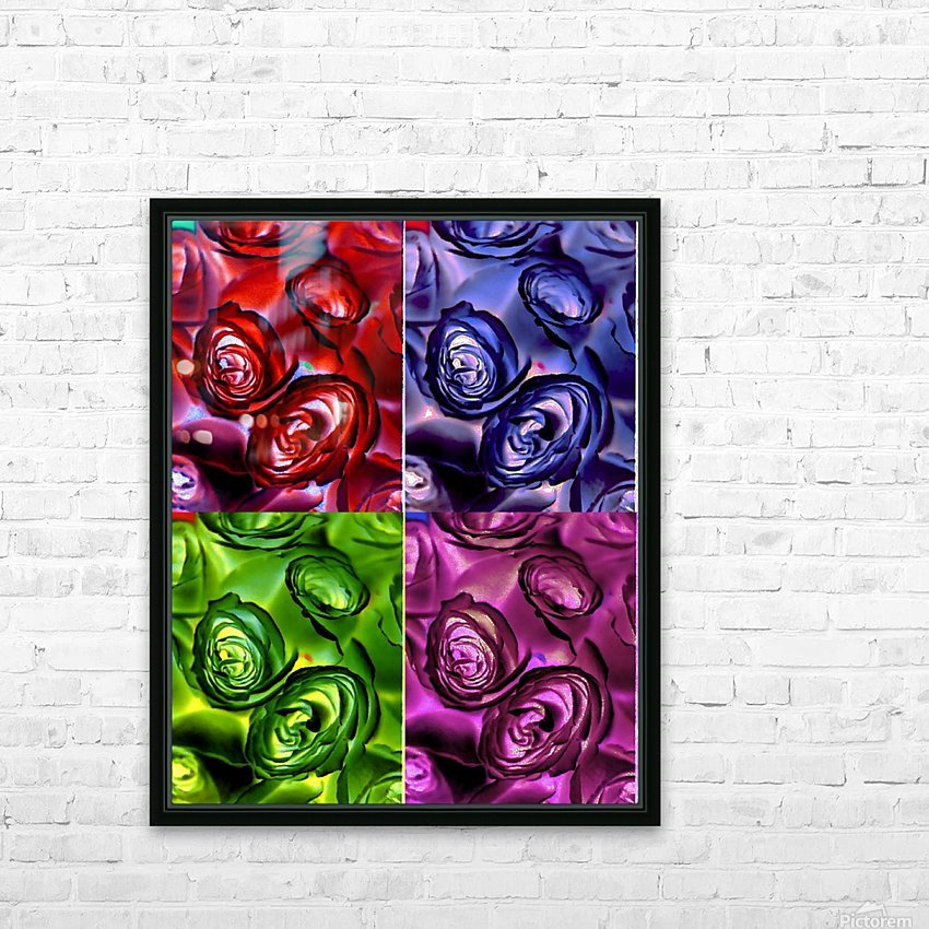 PSYCHEDELIC ROSES  HD Sublimation Metal print with Decorating Float Frame (BOX)