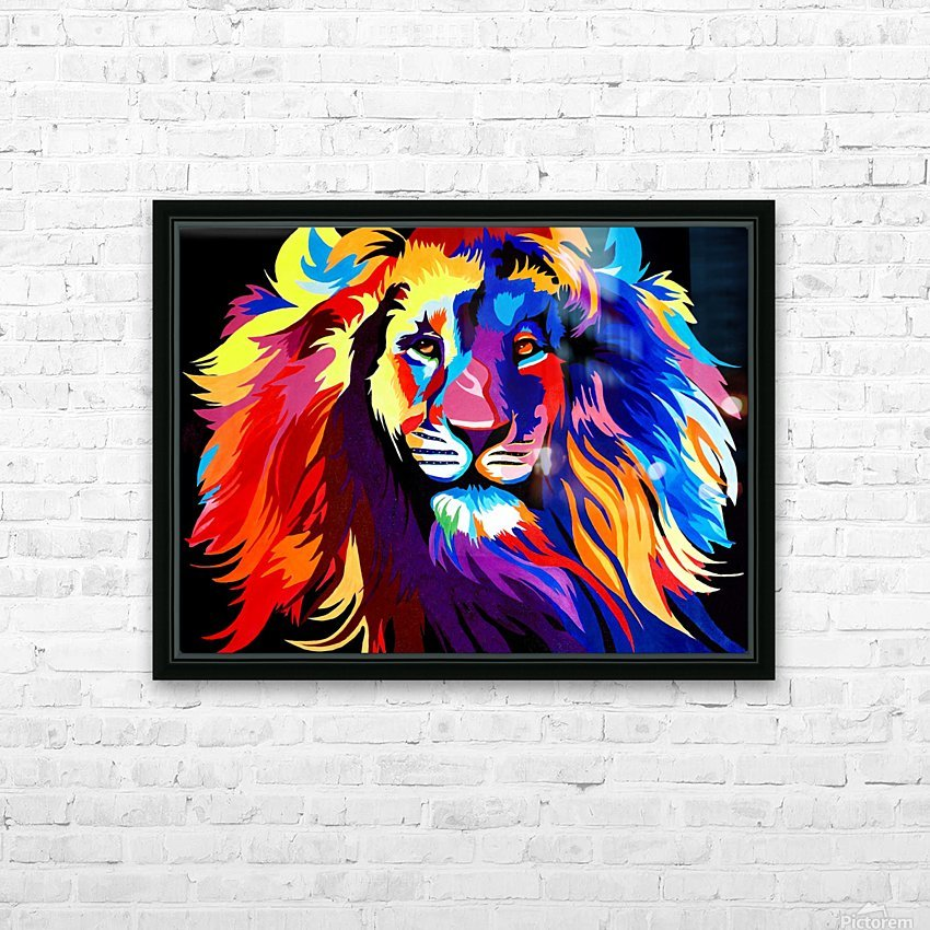 Lion Rainbow HD Sublimation Metal print with Decorating Float Frame (BOX)