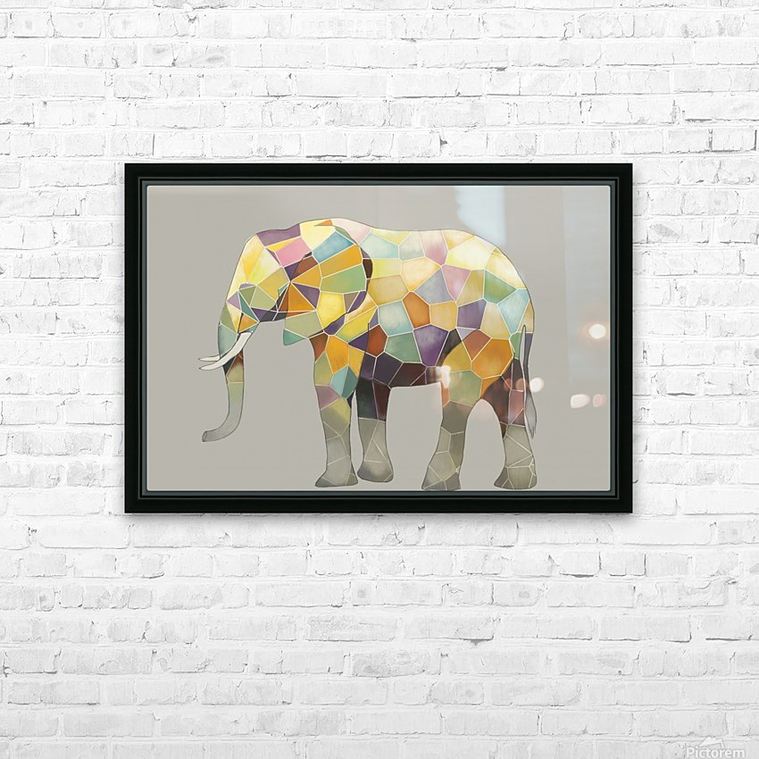 Elephant Mosaic HD Sublimation Metal print with Decorating Float Frame (BOX)