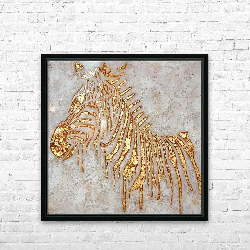 Gold Zebra HD Sublimation Metal print with Decorating Float Frame (BOX)