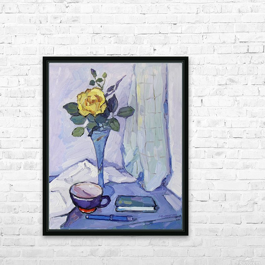 Still Life with Yellow Rose HD Sublimation Metal print with Decorating Float Frame (BOX)