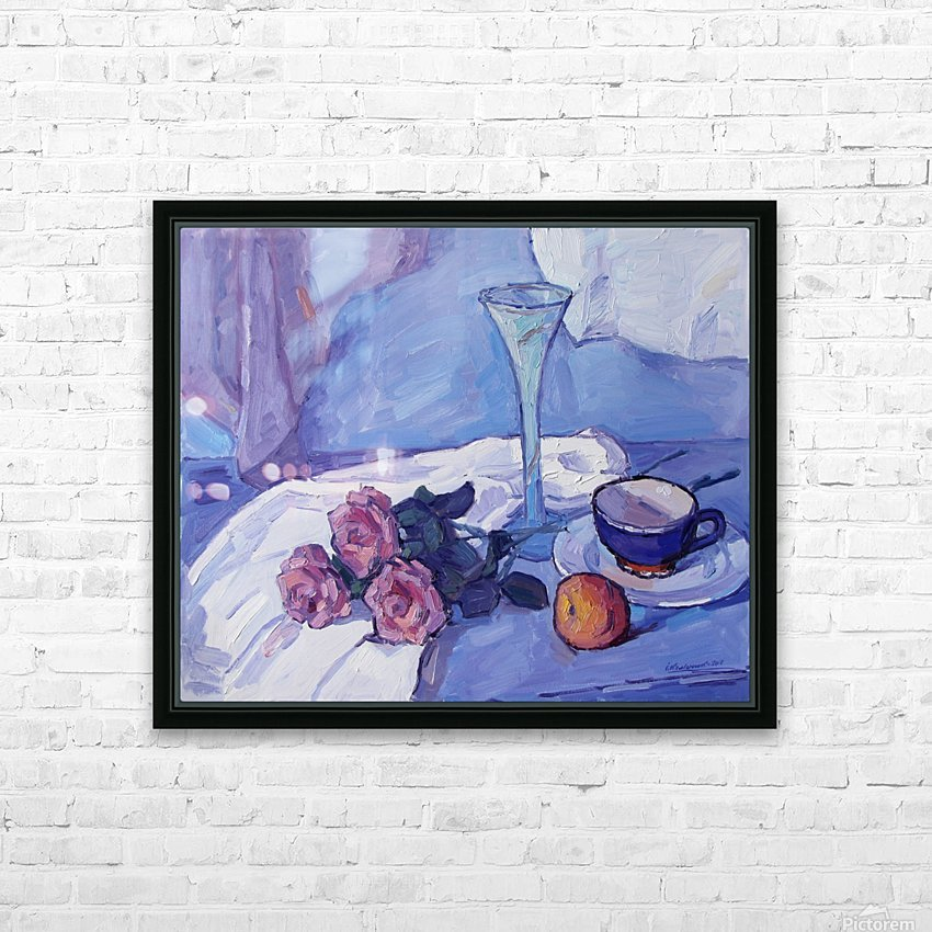Still Life with Purple Roses HD Sublimation Metal print with Decorating Float Frame (BOX)