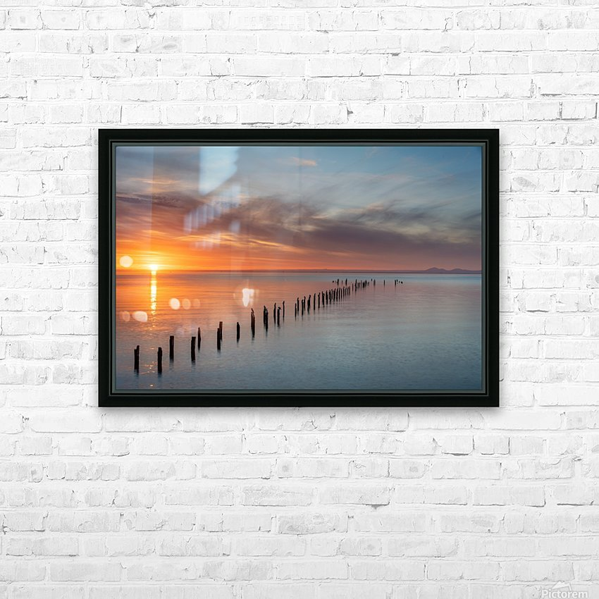 Sunset Pier HD Sublimation Metal print with Decorating Float Frame (BOX)