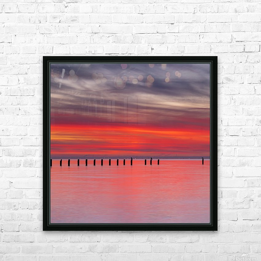 Pink Sunset over Water HD Sublimation Metal print with Decorating Float Frame (BOX)