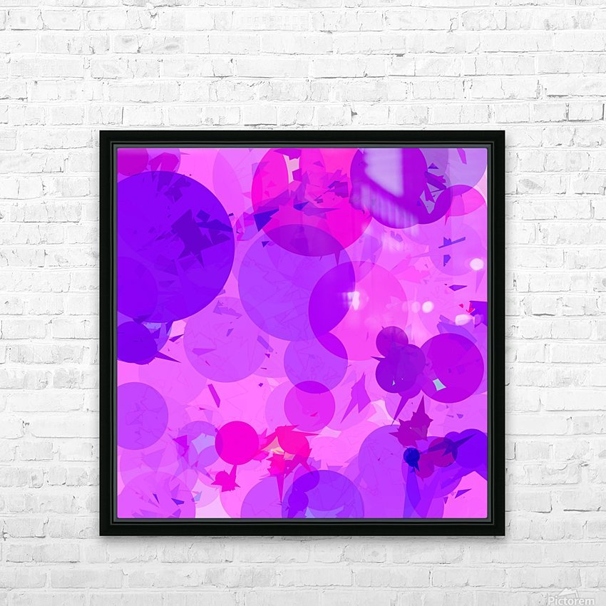 geometric circle and triangle pattern abstract in pink purple HD Sublimation Metal print with Decorating Float Frame (BOX)