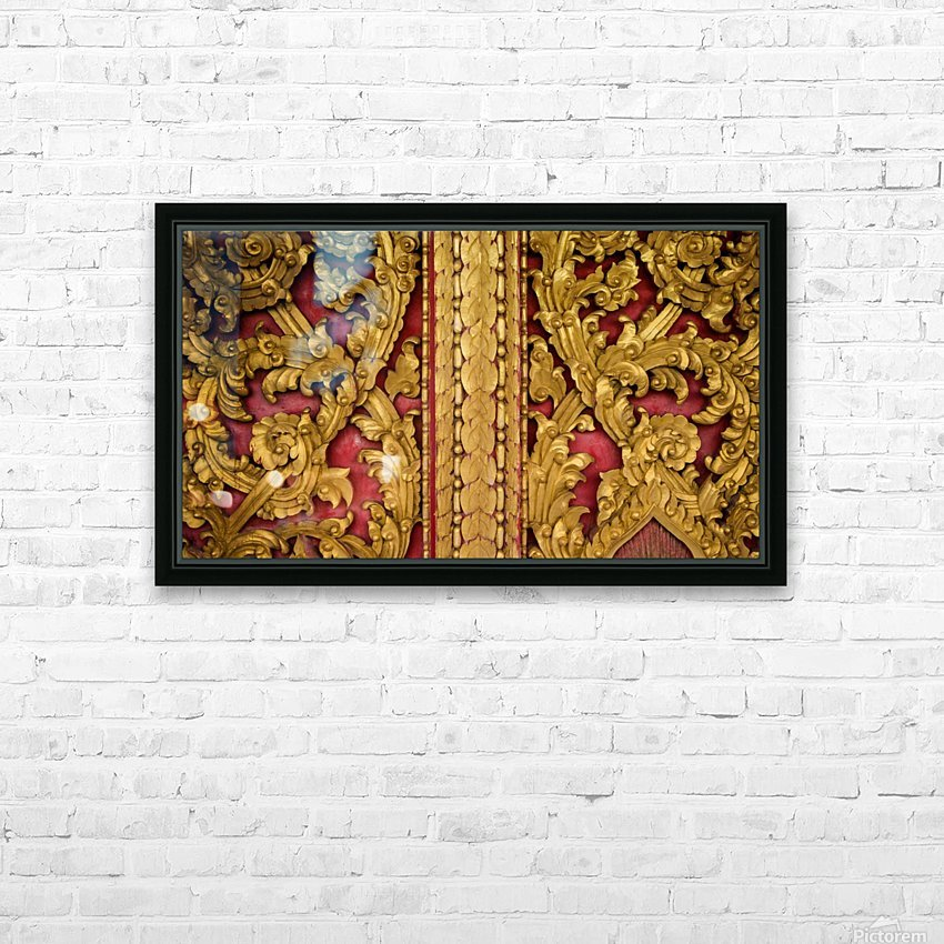 Golden wood carvings HD Sublimation Metal print with Decorating Float Frame (BOX)