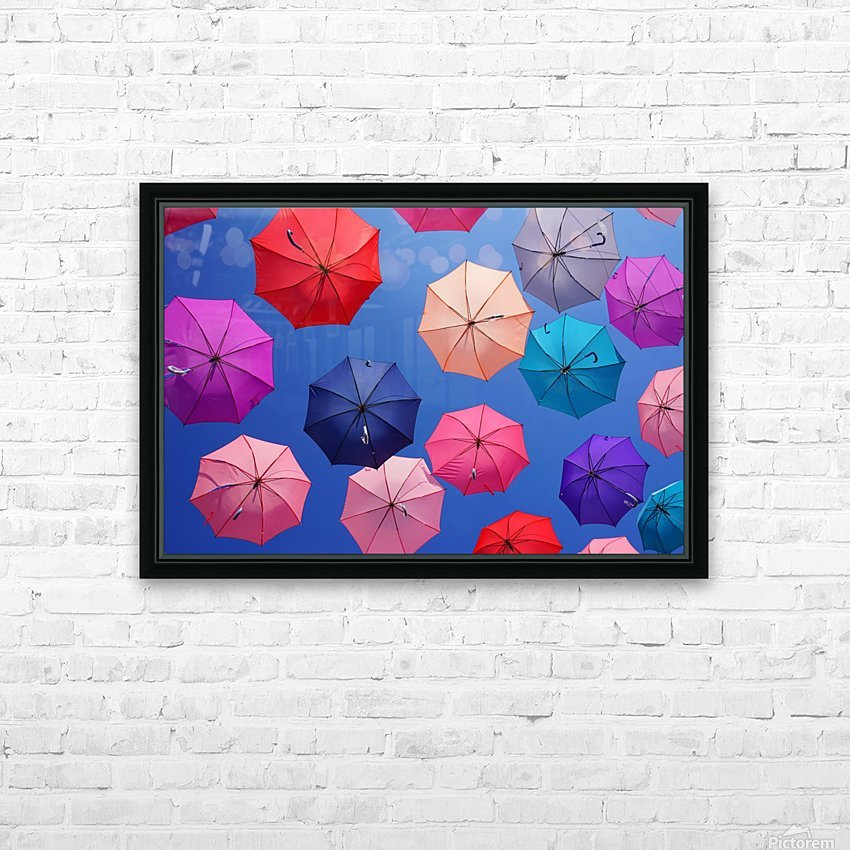 Colorful umbrella HD Sublimation Metal print with Decorating Float Frame (BOX)