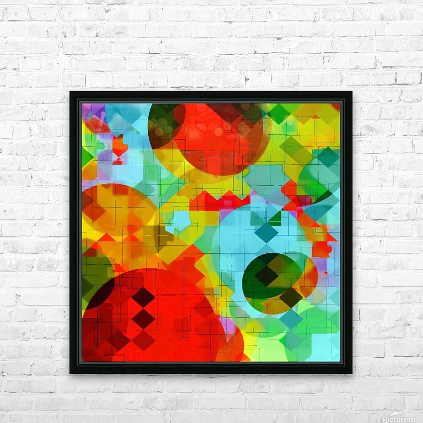 geometric square pixel and circle pattern abstract in red blue yellow HD Sublimation Metal print with Decorating Float Frame (BOX)