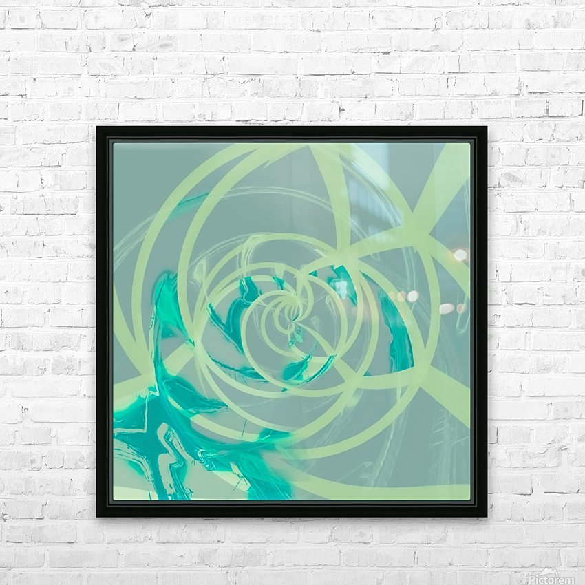 spiral line pattern painting texture abstract in blue green HD Sublimation Metal print with Decorating Float Frame (BOX)