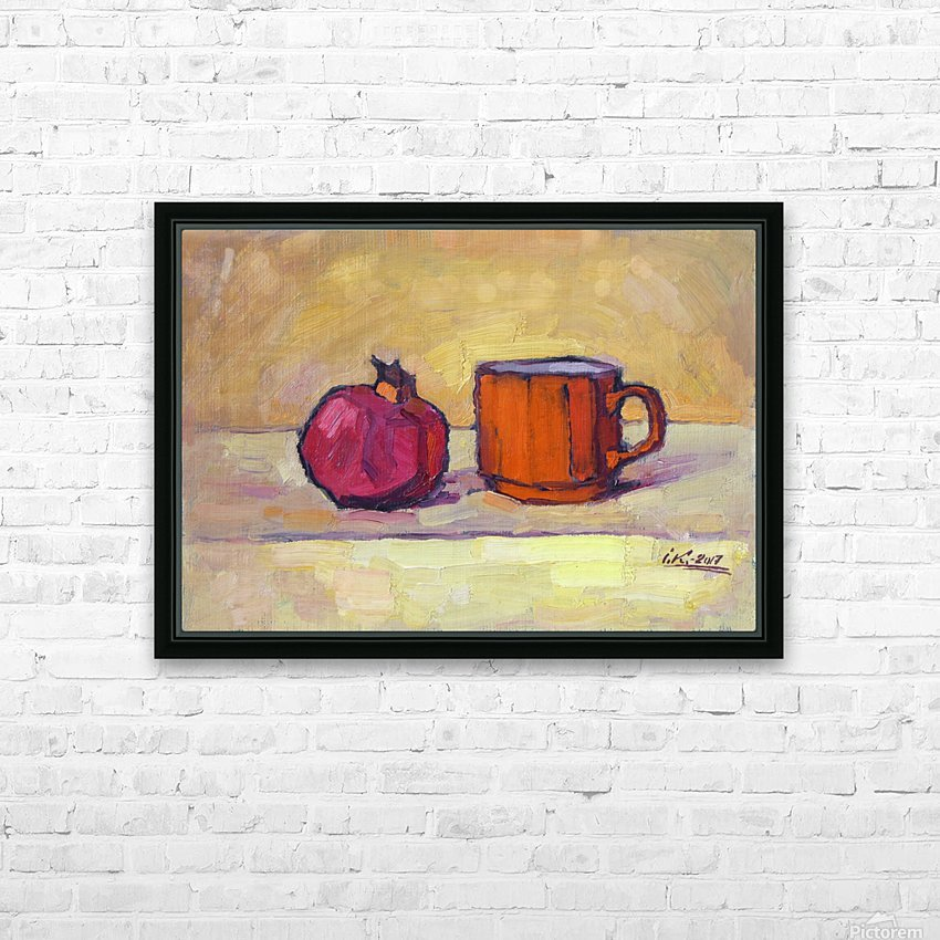 Pomegranate and Red Cup HD Sublimation Metal print with Decorating Float Frame (BOX)