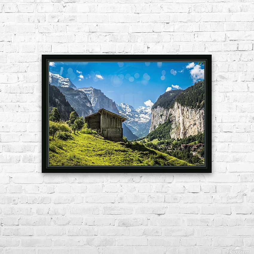 Hut in the valley HD Sublimation Metal print with Decorating Float Frame (BOX)