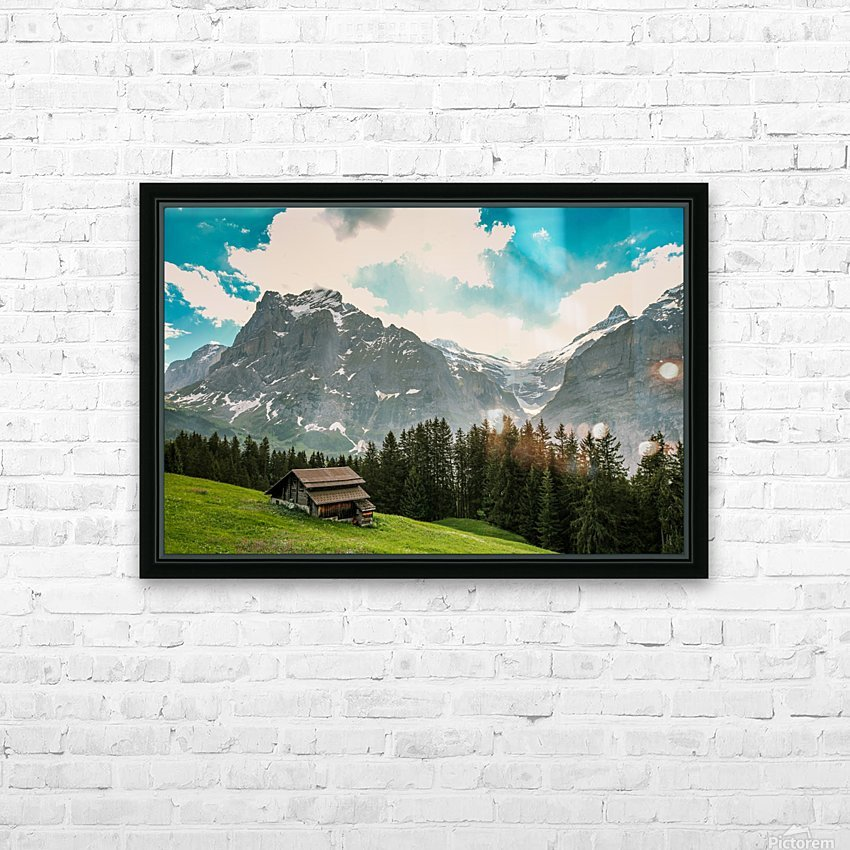 Hut on a hill HD Sublimation Metal print with Decorating Float Frame (BOX)