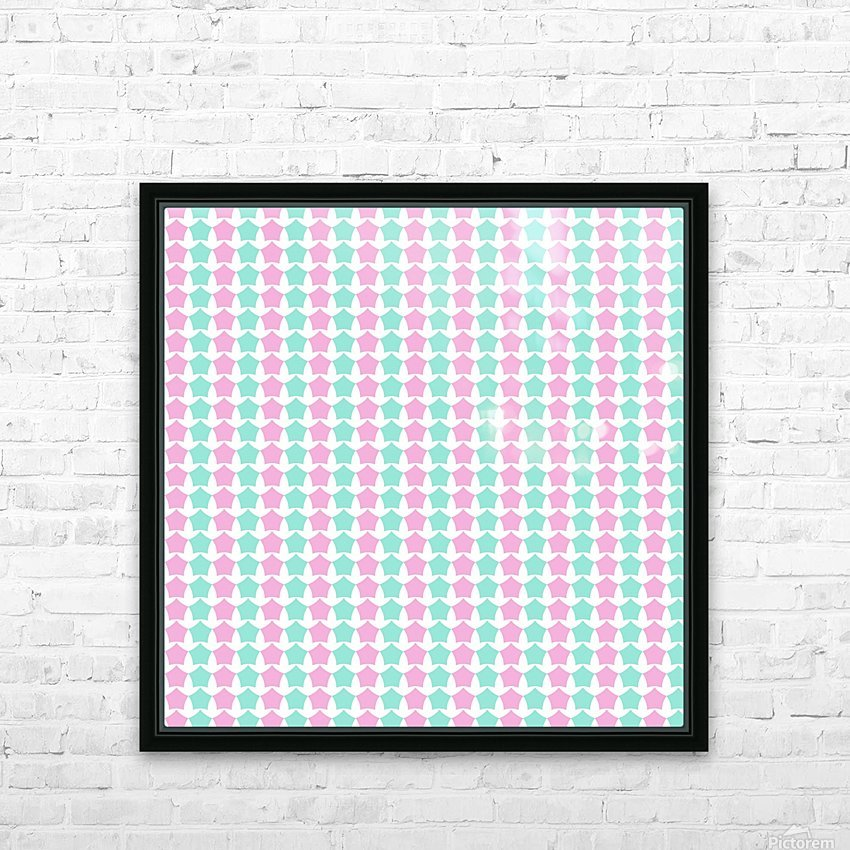 Pink _ Blue Star Seamless Pattern Artwork HD Sublimation Metal print with Decorating Float Frame (BOX)