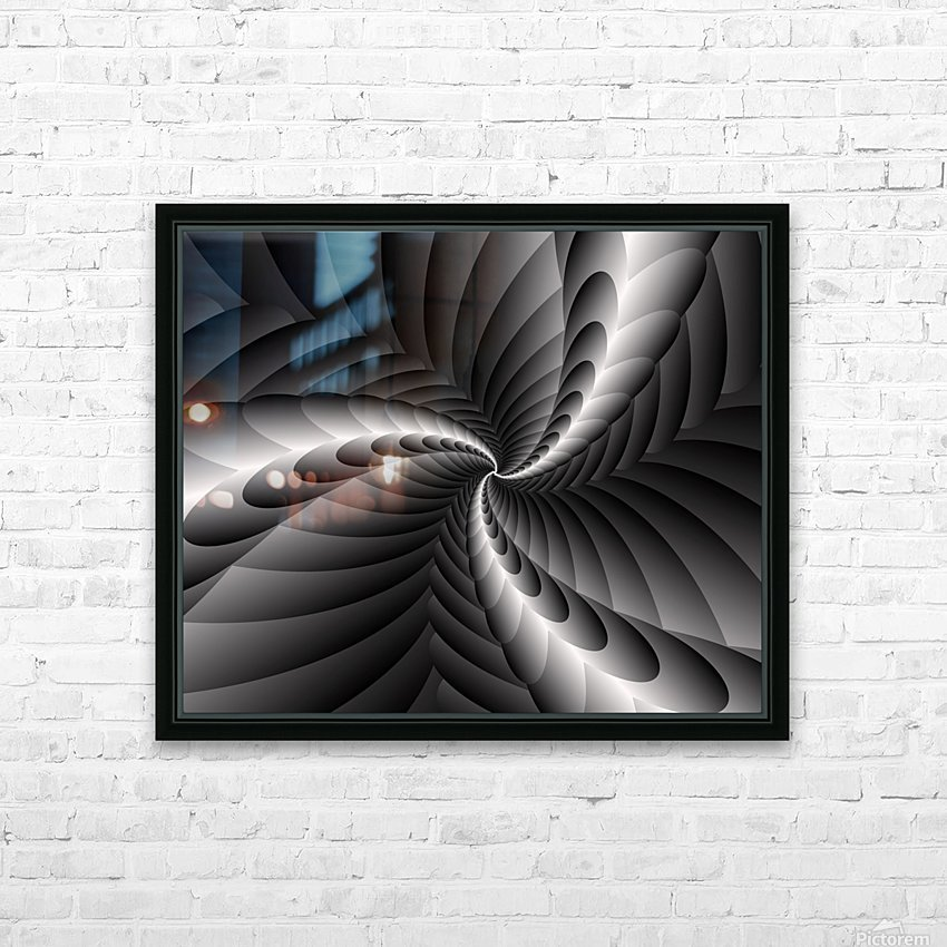 Black & white fractal Art  HD Sublimation Metal print with Decorating Float Frame (BOX)
