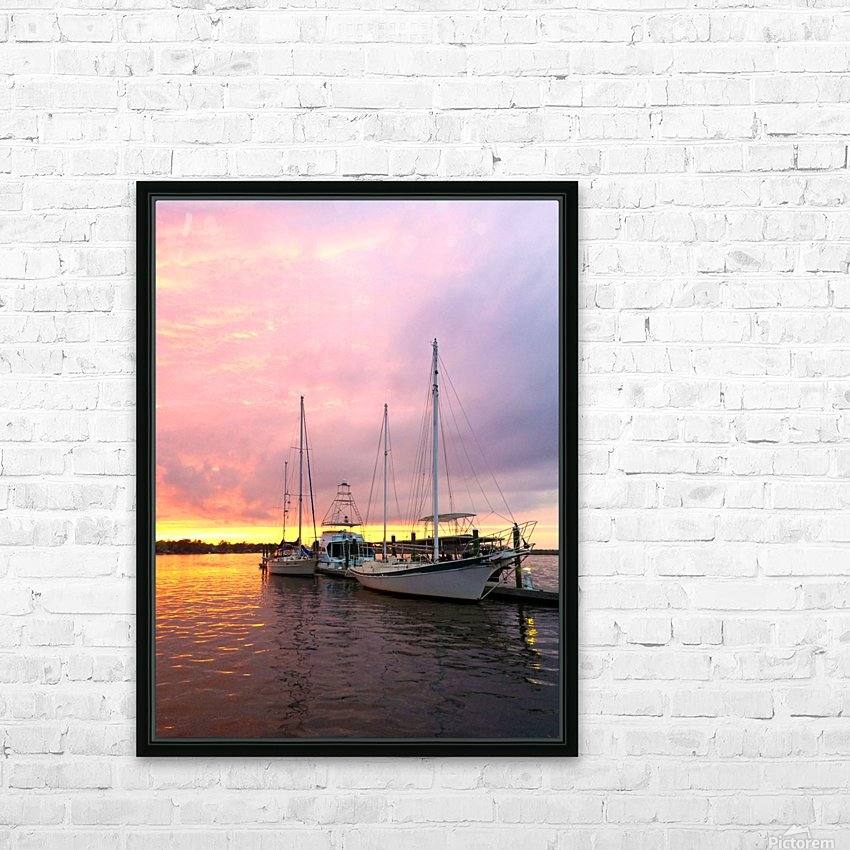 Sunset Sailboat HD Sublimation Metal print with Decorating Float Frame (BOX)