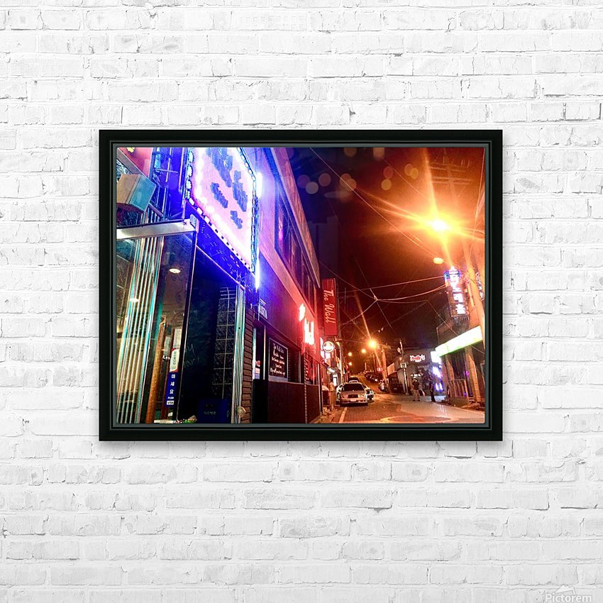 Korean Street at Night HD Sublimation Metal print with Decorating Float Frame (BOX)