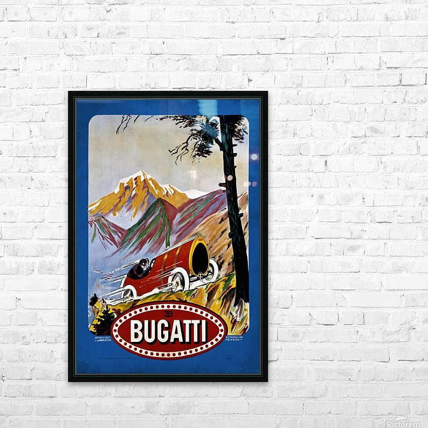 Bugatti Type 9 Prince Henri Affiche Golf Lyon 1911 HD Sublimation Metal print with Decorating Float Frame (BOX)
