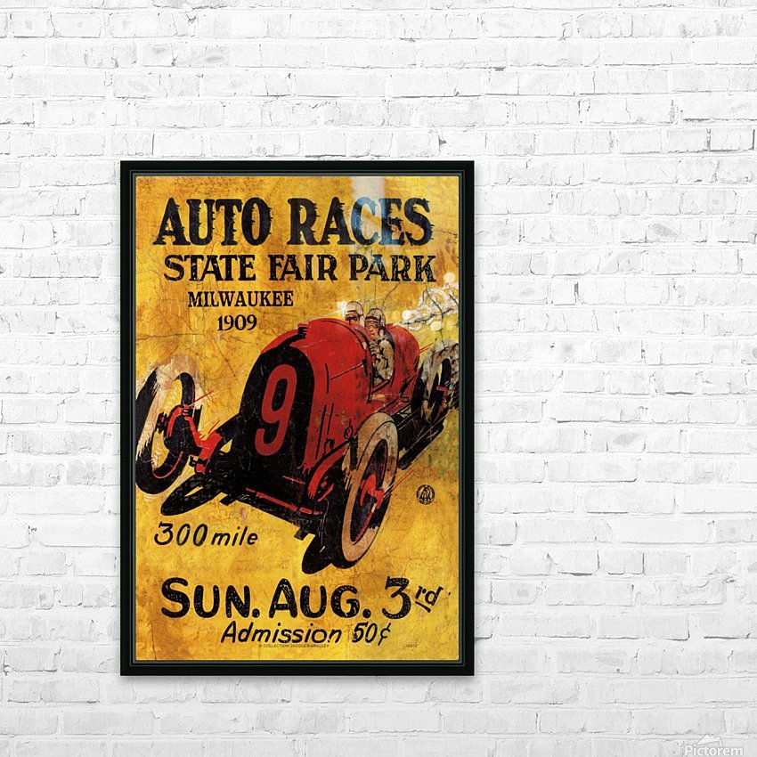 Milwaukee 300 Mile Auto Races State Fair Park 1909 HD Sublimation Metal print with Decorating Float Frame (BOX)