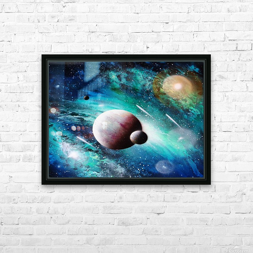 Blue maroon galaxy HD Sublimation Metal print with Decorating Float Frame (BOX)
