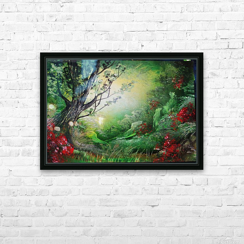 Green forest HD Sublimation Metal print with Decorating Float Frame (BOX)