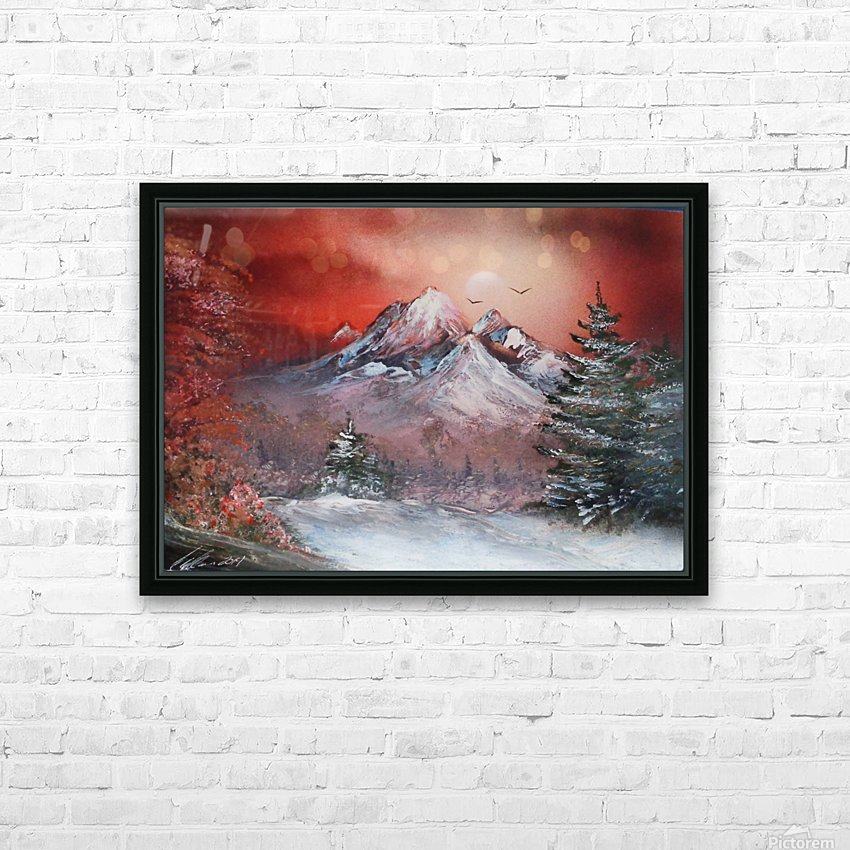 Winter sunset HD Sublimation Metal print with Decorating Float Frame (BOX)
