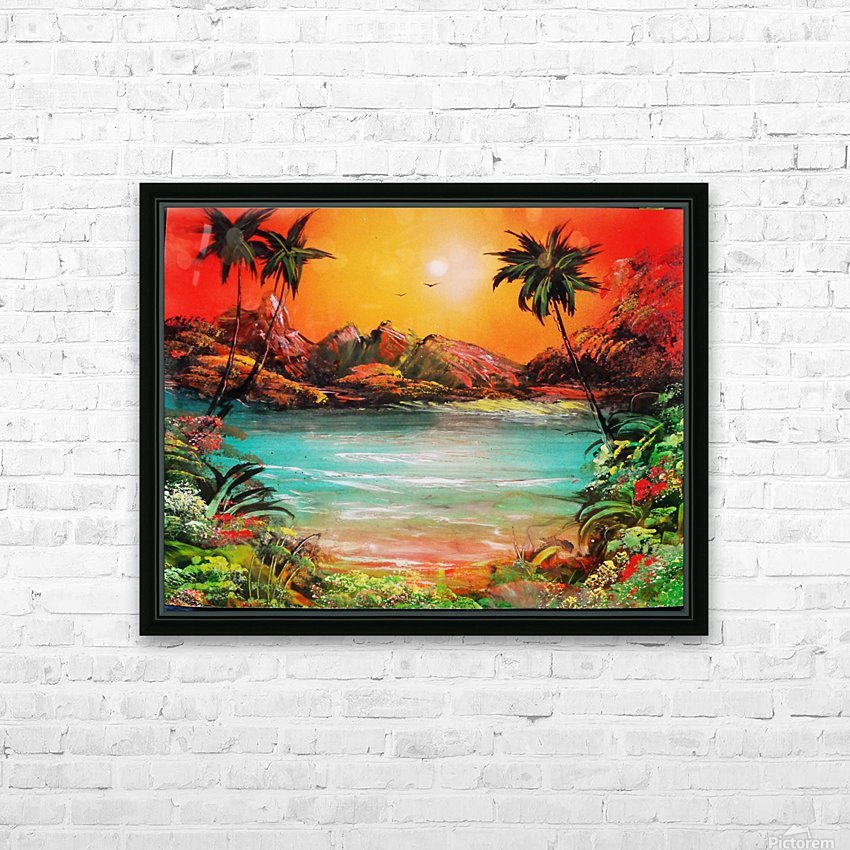 Jungle beach HD Sublimation Metal print with Decorating Float Frame (BOX)