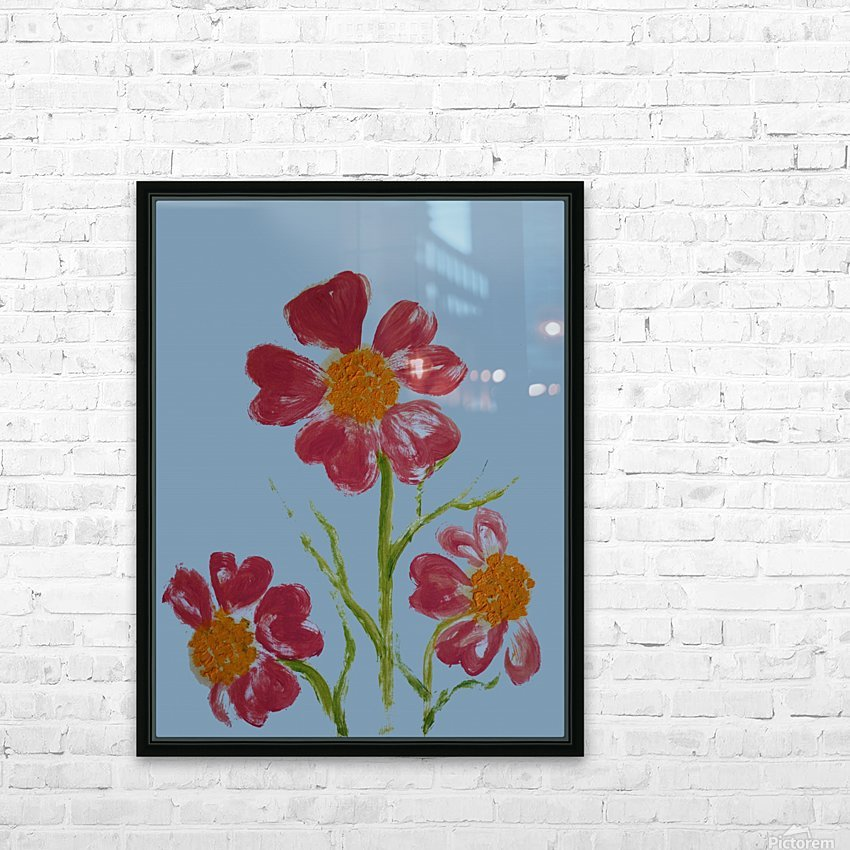 Red Flower 2 HD Sublimation Metal print with Decorating Float Frame (BOX)