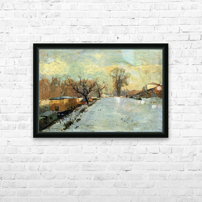 The Seine in Winter HD Sublimation Metal print with Decorating Float Frame (BOX)