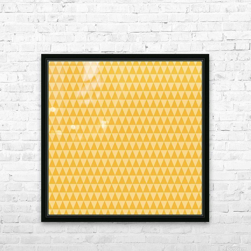 YELLOW Triangle Shape Seamless Pattern Background   HD Sublimation Metal print with Decorating Float Frame (BOX)