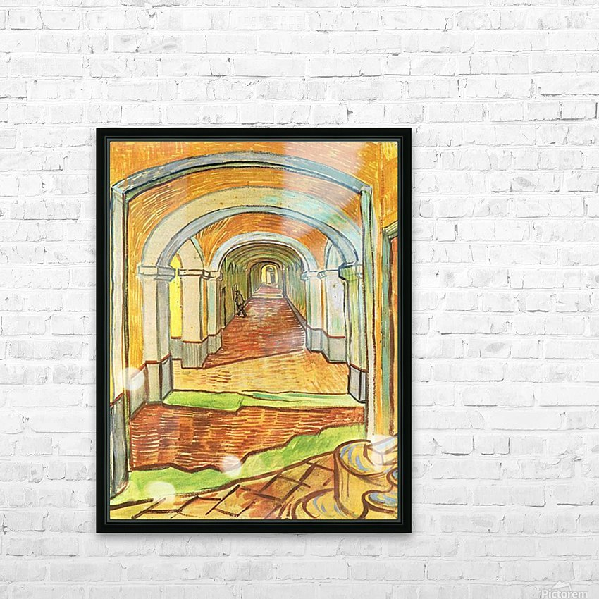Corridor in Saint-Paul Hospital by Van Gogh HD Sublimation Metal print with Decorating Float Frame (BOX)
