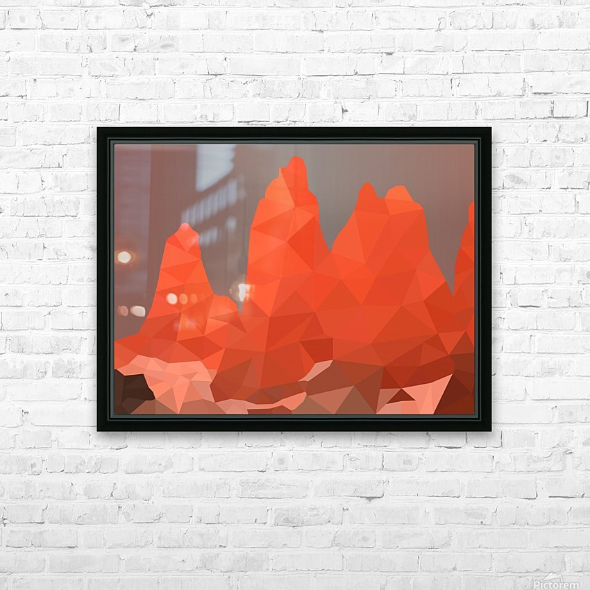 Torres del Paine National Park Low Poly Art  HD Sublimation Metal print with Decorating Float Frame (BOX)