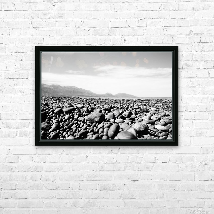 Pebbles on beach HD Sublimation Metal print with Decorating Float Frame (BOX)