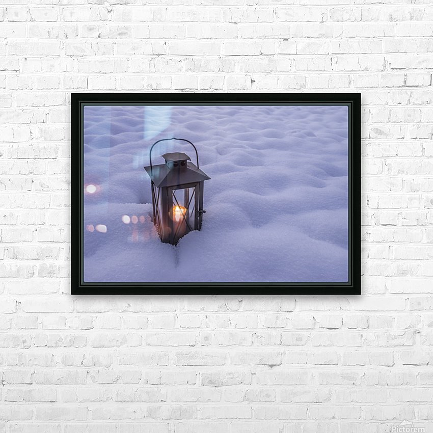 Lantern in the snow HD Sublimation Metal print with Decorating Float Frame (BOX)
