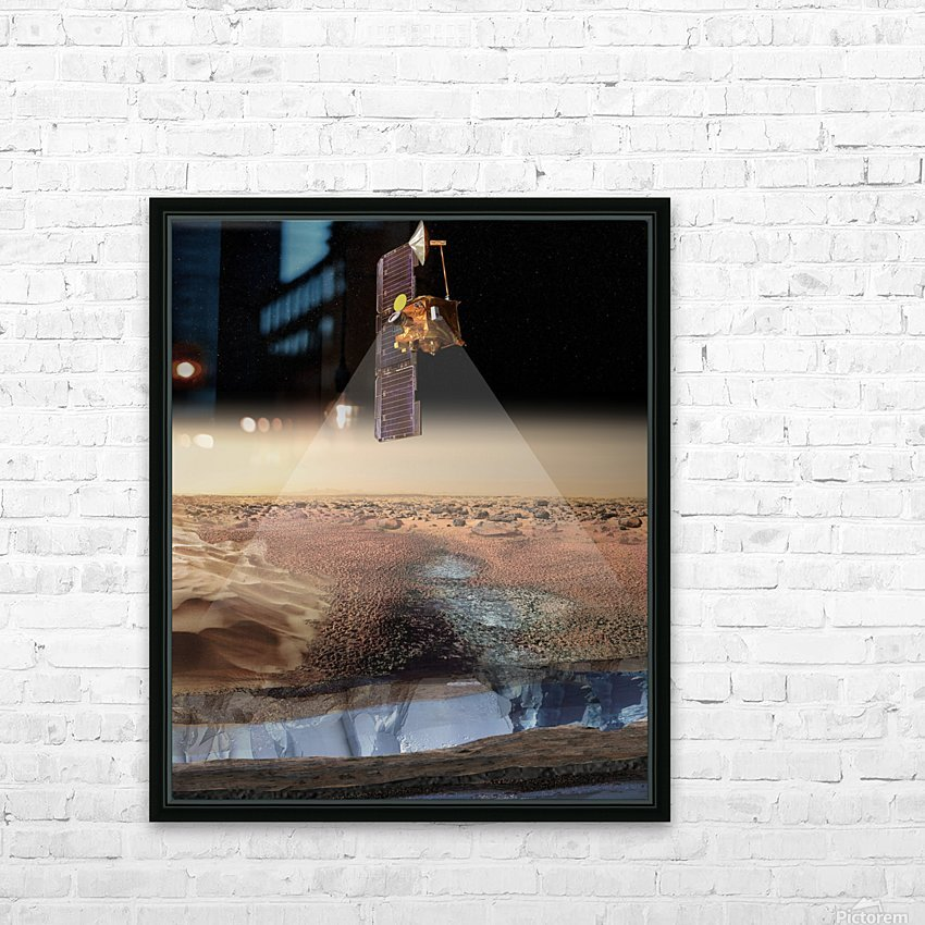Artists View of Odyssey Detecting Ice. HD Sublimation Metal print with Decorating Float Frame (BOX)