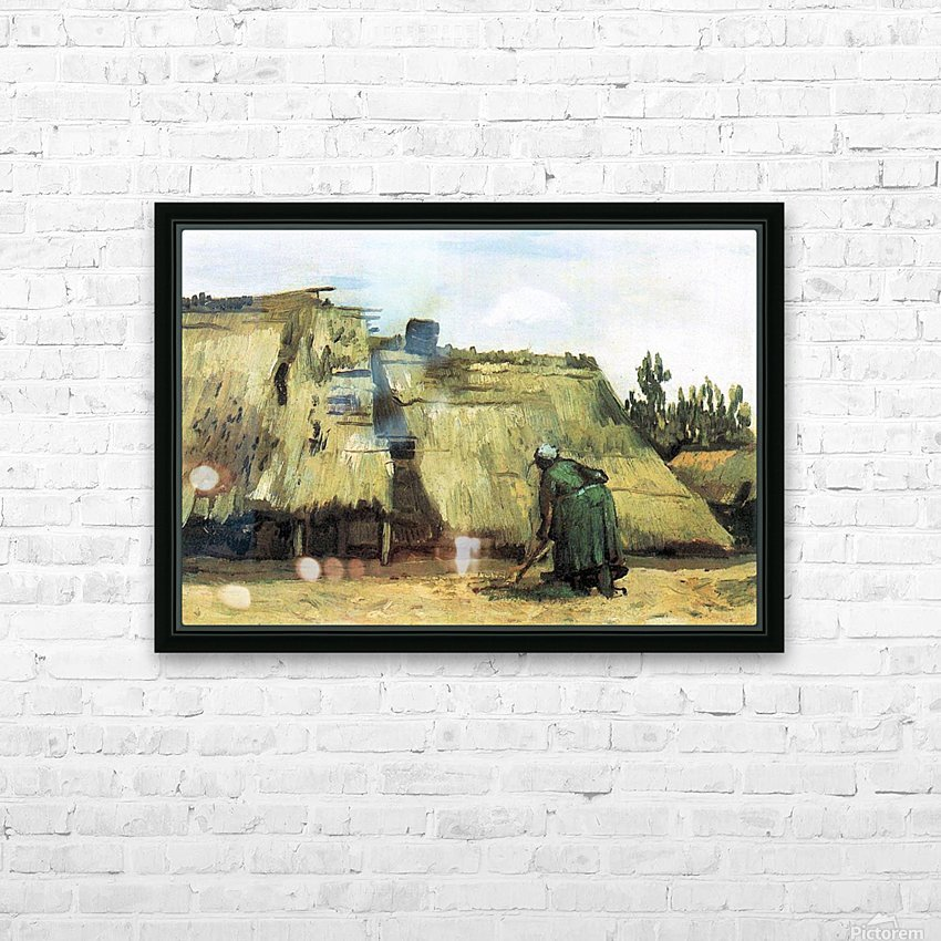Farmhouse with farmer digging by Van Gogh HD Sublimation Metal print with Decorating Float Frame (BOX)